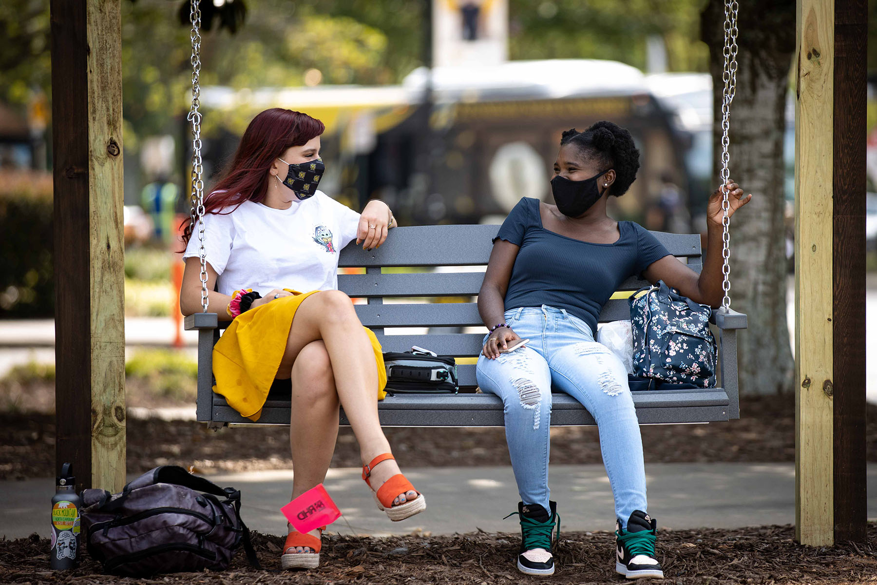 students on swing